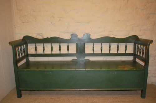 antique pine box settle in original paint 1880