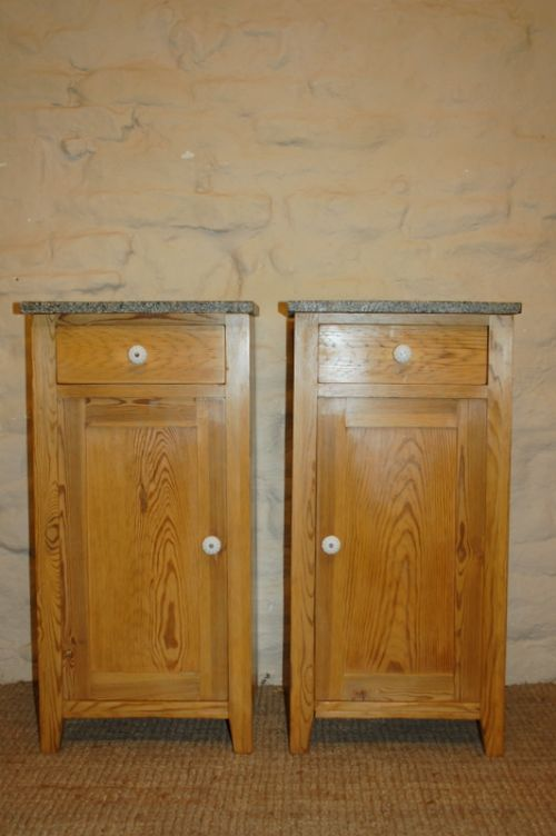 antique pair of pine bedside cabinets pot cupboards 1900 - Antique Pair Of Pine Bedside Cabinets / Pot Cupboards 1900