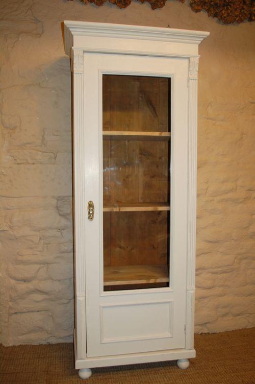 painted glazed slim bookcase storage cupboard