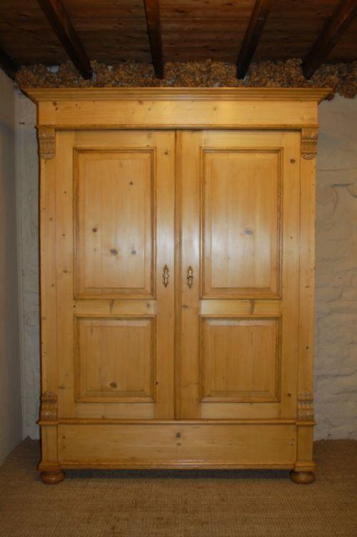 antique pine double wardrobe armoire 1870