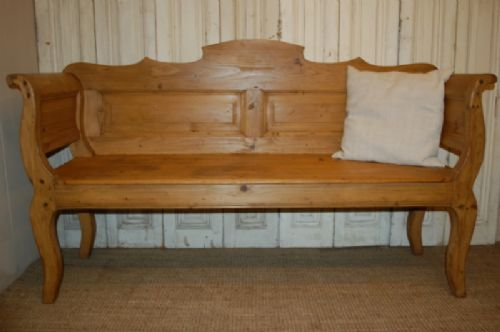 Antique Pine Country Settle Bench Pew 259687