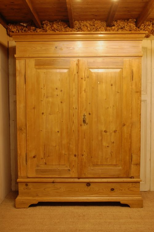 Antique Rustic Pine Double Wardrobe Country Armoire