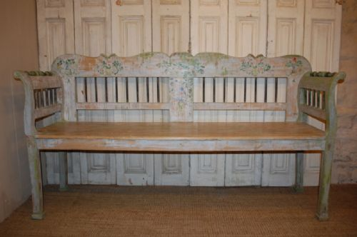 antique pine country settle bench in original paint 1850
