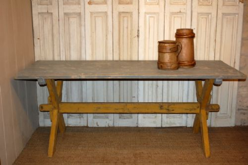 Antique Rustic Pine Dining Table Tavern Trestle Table Harvest Table 1880