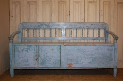 antique pine country box settle bench with storage 1850