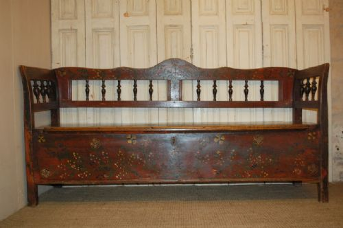 Antique Pine Box Settle In Original Decorative Paint Bench With Storage