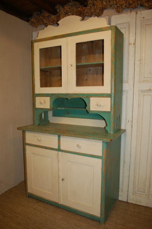 antique pine kitchen dresser glazed cabinet original paint