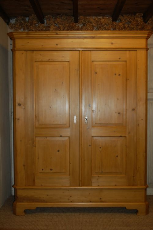 antique pine double wardrobe armoire 1850