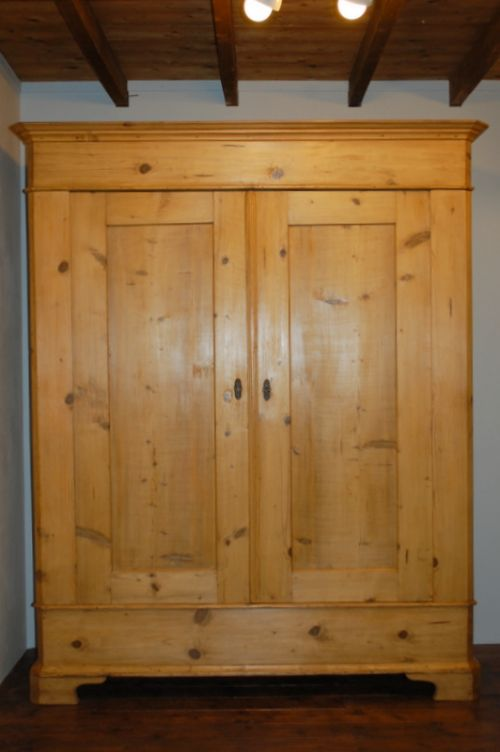 antique pine country double wardrone rustic armoire 1840