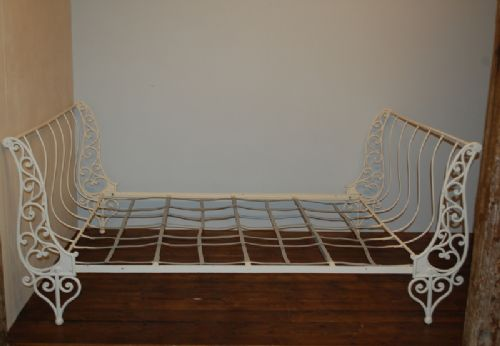 Antique French Folding Iron Day Bed Sofa Bed 1850