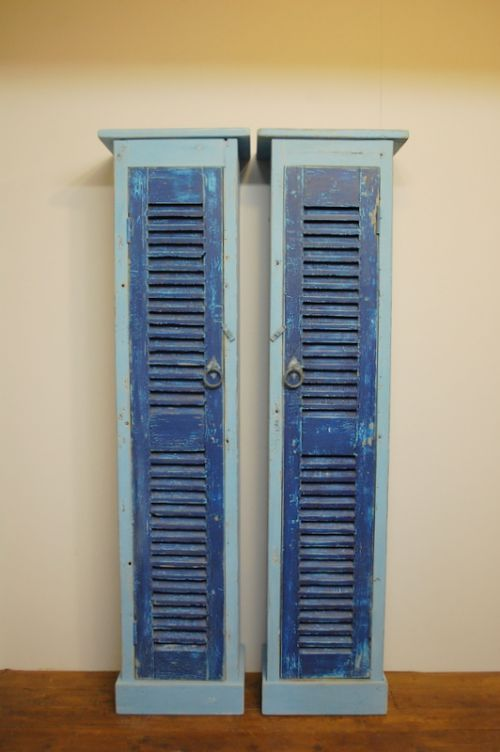 pair of rustic french window shutter cupboards