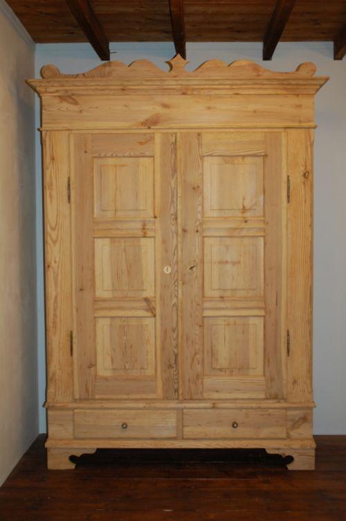 antique pine double wardrobe 1850