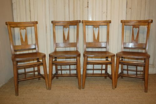 antique set of 4 elm chapel chairs