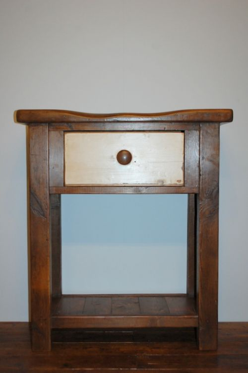 antique reclaimed mill timber console table