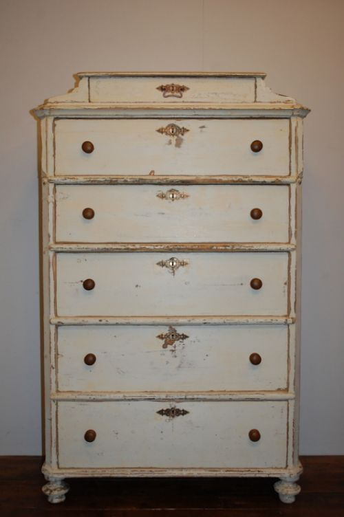Antique Swedish Tallboy Chest Of Drawers