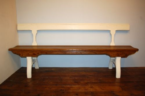 antique pine pitch pine chapel bench pew pair available