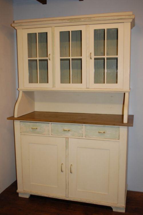 antique pine painted kitchen dresser glazed cabinet