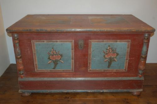 antique pine dowry chest blanket box trunk original paint