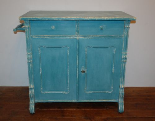 antique rustic storage cupboard base gustavian blue 1870