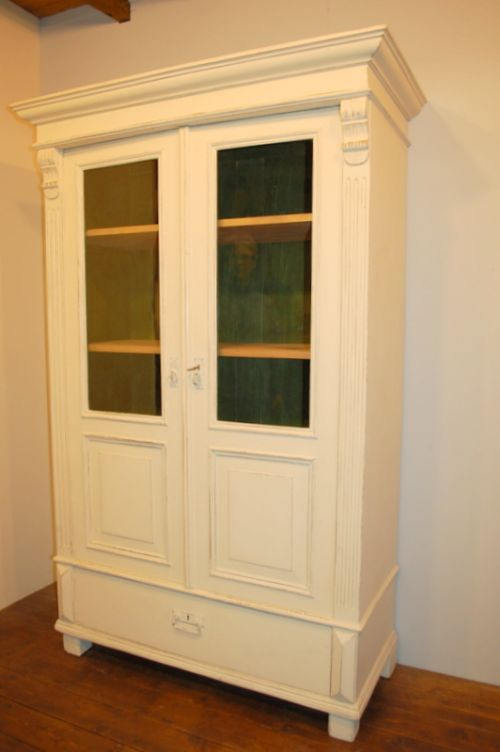 antique pine glazed cabint china cabinet display vitrine bookcase 1870