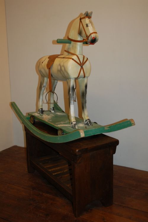 antique wooden rocking horse orginal paint 1920