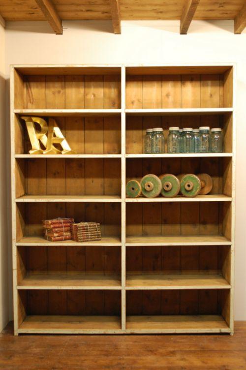 antique pine industrial pigeon hole shelf book shelf