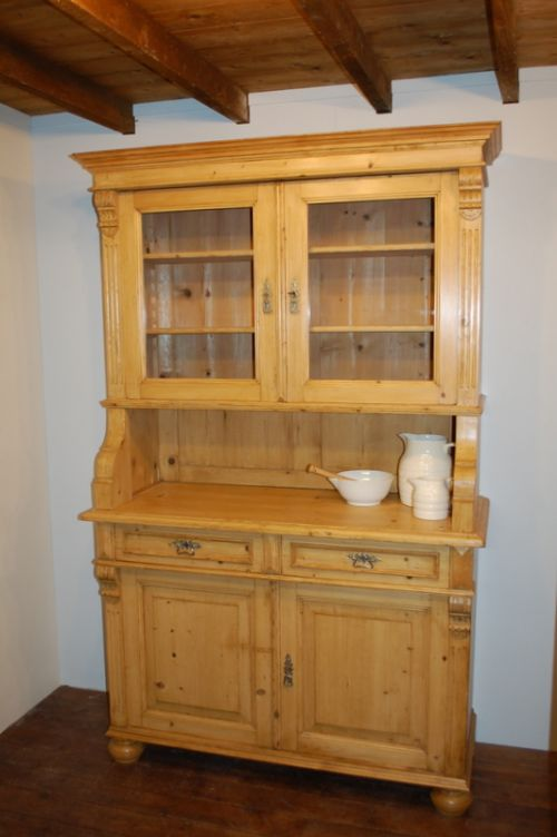 Antique pine classic country kitchen dresser glazed for Antique pine kitchen cabinets