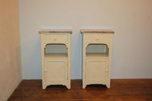 antique pair of pine bedside cabinets 1900 pair of pot cupboards