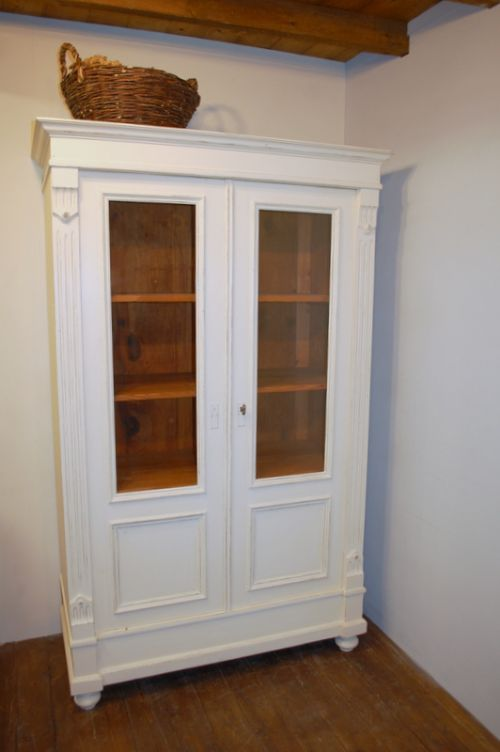 antique pine glazed cabinet dresser bookcase vitrine 1870