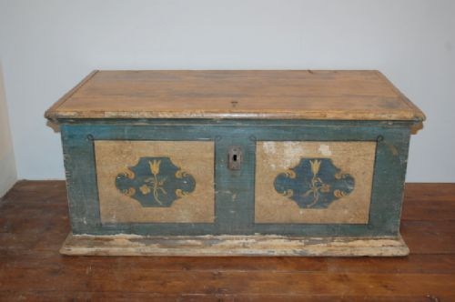 antique pine dowry chest blanket box original paint 1799