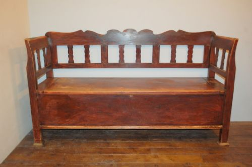 antique pine box settle bench with storige original condition 1860