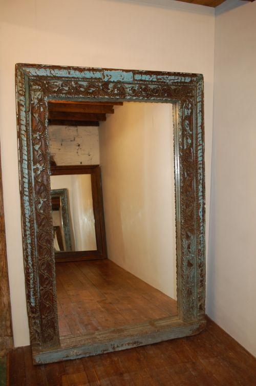 antique huge carved mirror frame in original paint