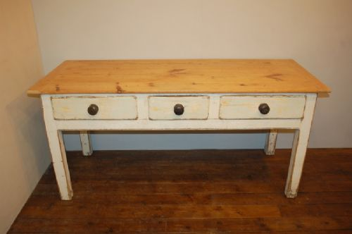 Antique Three Drawer Pine Console Harvest Table
