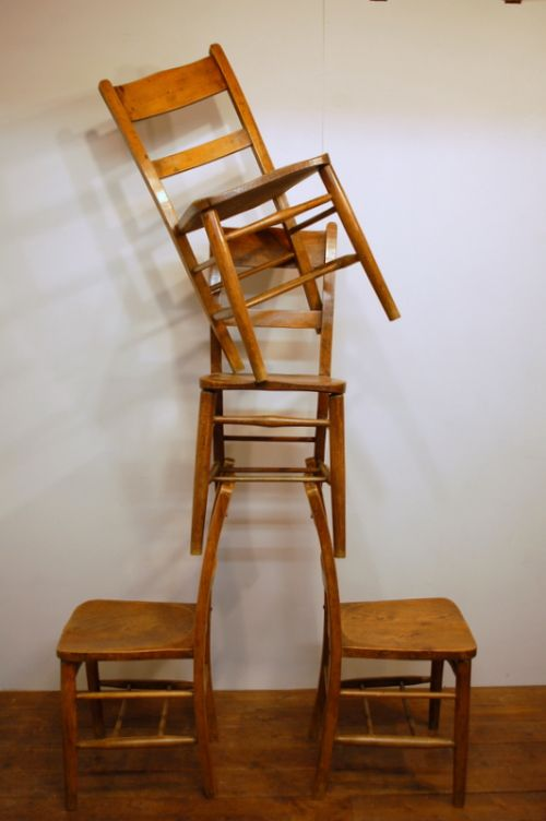 set of four antique elm chapel chairs 8 available