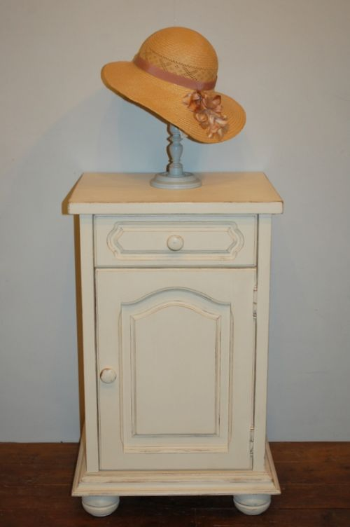 small chunky vintage painted flemish oak cabinet