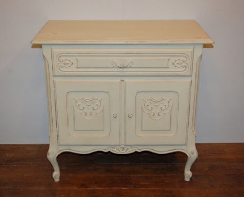 vintage french painted oak cabinet base