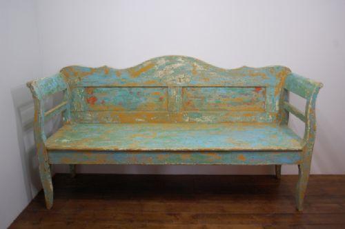 antique pine farmhouse settle bench in orginal paint 1870