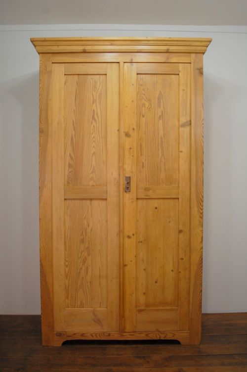 Antique Slim Pine Storage Larder Cupboard With 2 Doors 1880 450177