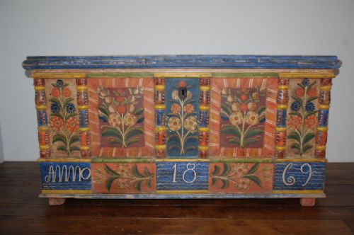 antique pine dowry chest with original decorative paint dated 1869