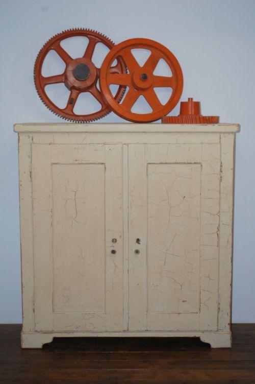 antique pine storage larder linen cupboard old paint 1870