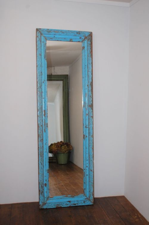 antique carved floor or wall mirror in original paint