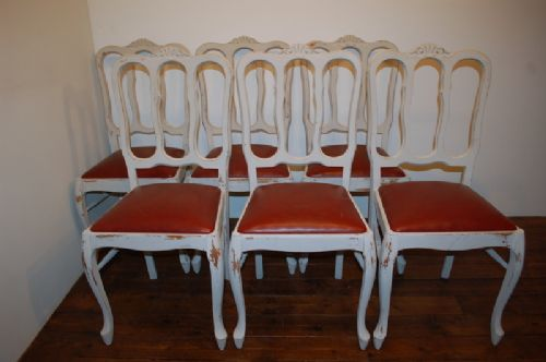 antique set of six french provencale dining chairs
