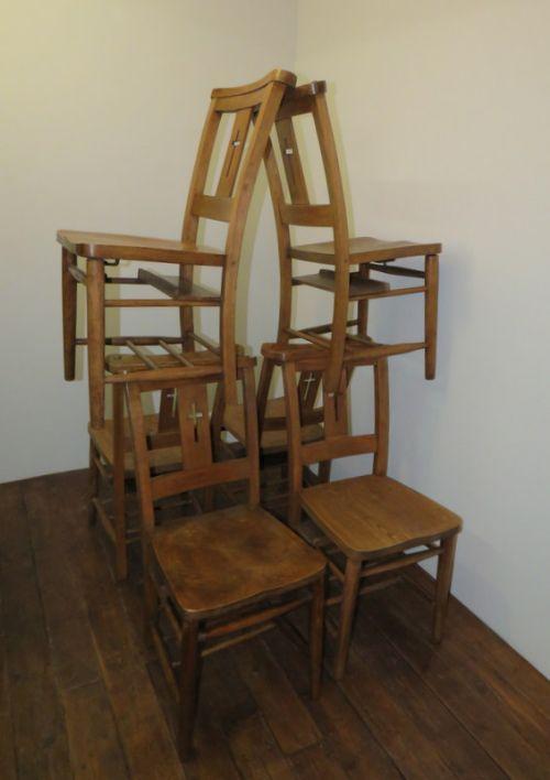 antique set of six elm chapel chairs 1900 - Antique Set Of Six Elm Chapel Chairs 1900 460699 Www.cottage