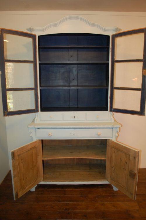 Antique Pine Painted Kitchen Dresser Cabinet 1870   461004 ...