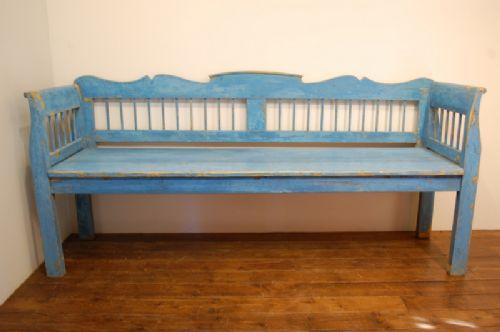 antique pine farmhouse settle bench in original paint 1860