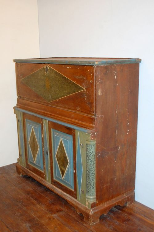 antique swedish pine secretaire in original paint
