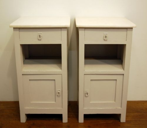 antique pair of oak bedside cabinets 1900 painted