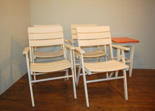 set of 4 antique folding wooden steamer garden chairs 1920