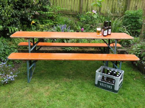 Vintage Folding Beer Garden Benches And Table Set | 477319 | www ...
