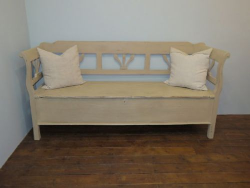 antique pine farmhouse box settle storage bench 1880